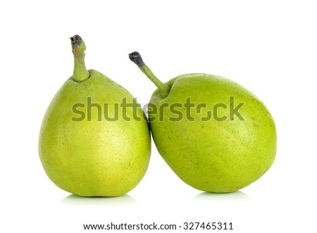 Green pear isolated on the white background. - stock photo