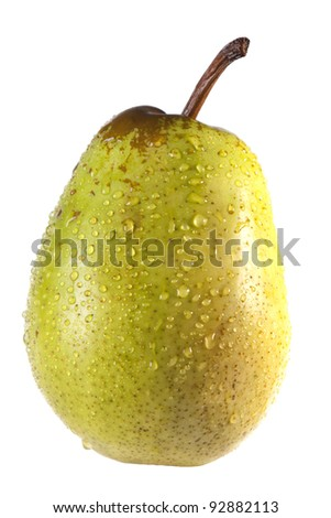 green pear with drops - stock photo