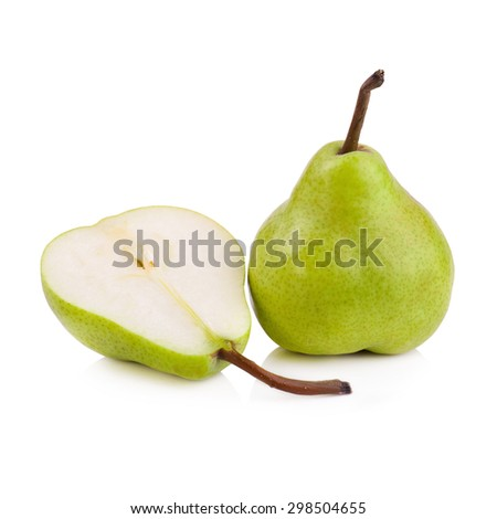green pears over white background