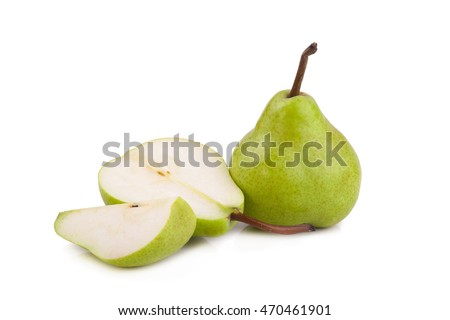 green pears over white background.