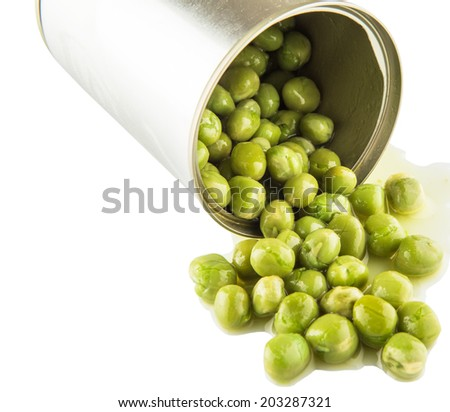 Green peas in a tin can over white background - stock photo