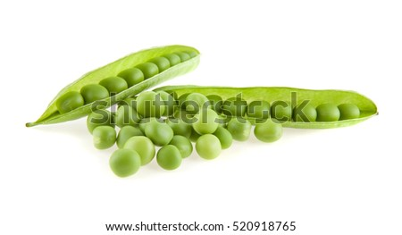 green peas isolated on white background closeup