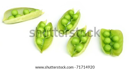Green peas on beans