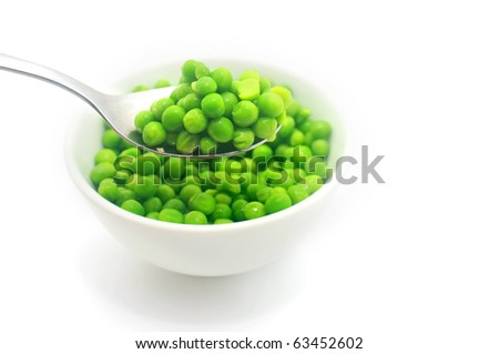 Green peas on the spoon