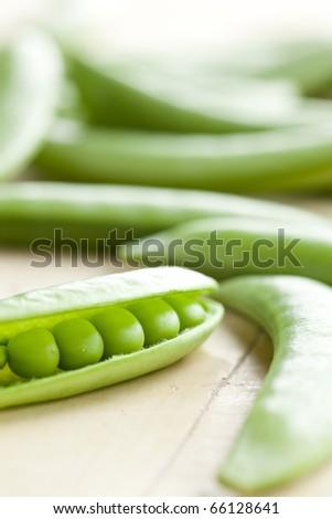 green peas pods - stock photo