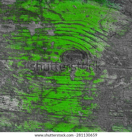 green peeling paint, rustic wooden fence - stock photo
