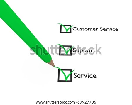 Green pen checks some questions about Service, Support and Customer Service