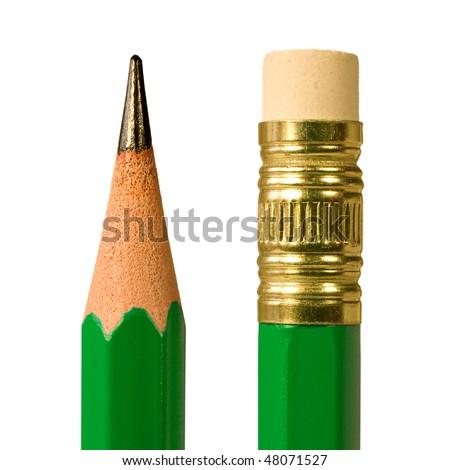 green pencil macro - stock photo