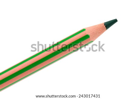 green pencil on a white background