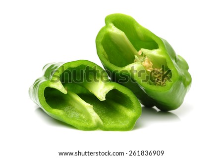 Green pepper on white background  - stock photo