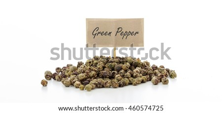 Green pepper seeds on white background
