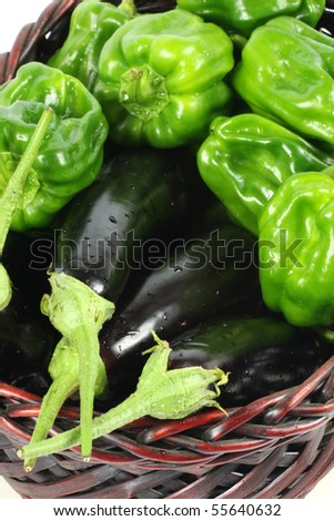 Green peppers and purple eggplant