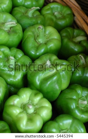 Green Peppers-In basket - stock photo