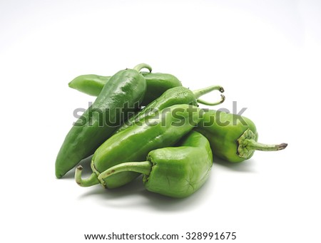 Green peppers isolated on white - stock photo