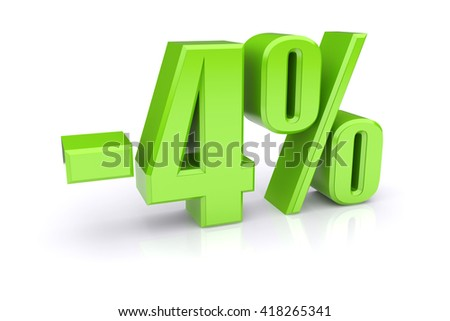 Green 4% percentage rate icon on a white background. 3d rendered image