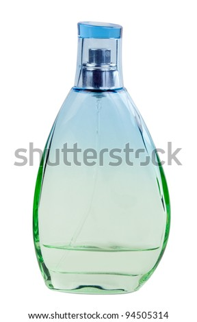 Green perfume bottle isolated on white background - stock photo