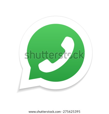 Green phone handset in speech bubble icon  - stock photo