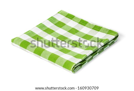 green picnic tablecloth isolated - stock photo