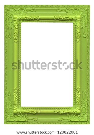 green picture frame isolated on white background - stock photo