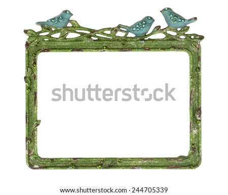 Green Picture Frame with Blue Birds - stock photo