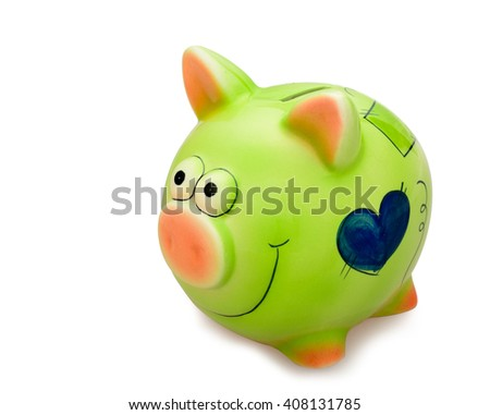 Green piggy bank - stock photo