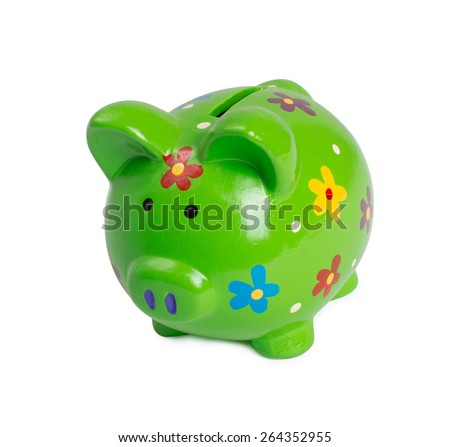 Green piggy bank or money box isolated - stock photo