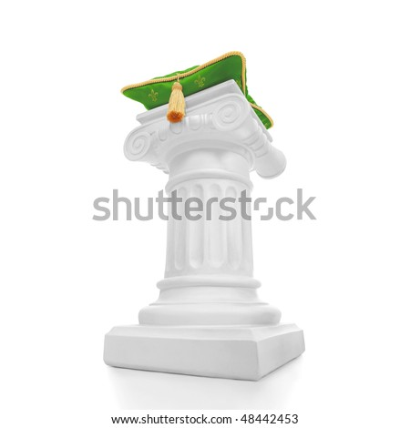 Green pillow on a column - stock photo