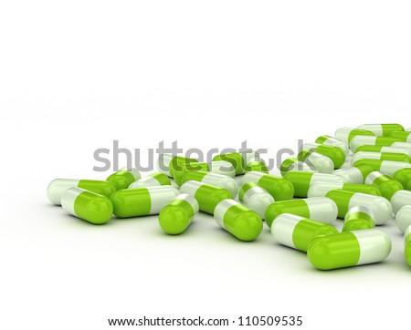 Green pills - medical background - stock photo