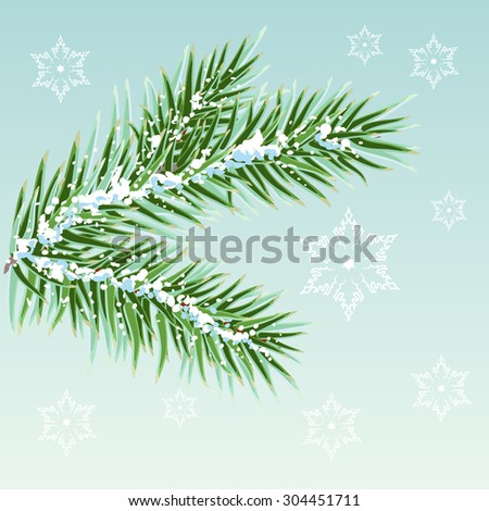 Green Pine branches in the snow - stock photo