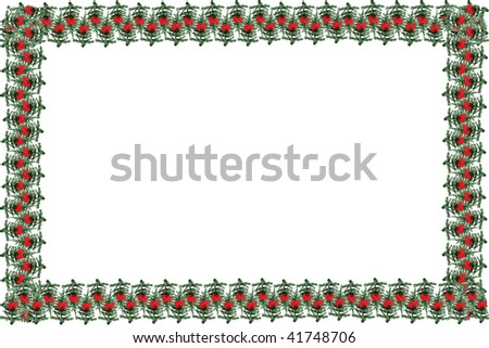Green pine  christmas tree with red festive bows as a greeting card  to use as a background, frame or border