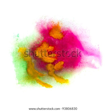 green pink macro spot blotch texture isolated on a white background - stock photo