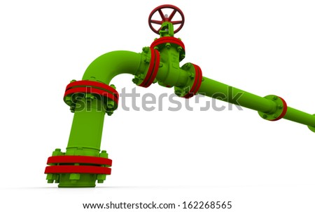 Green pipe and valve. Isolated render on a white background - stock photo