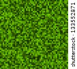 Green Pixel Background, raster illustration - stock photo