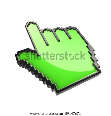 green  pixelated cursor hand  isolated - stock photo