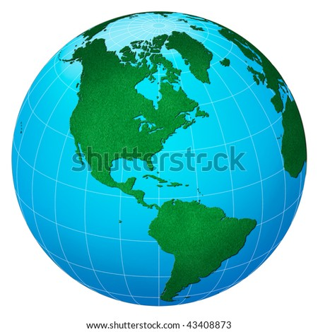 Green planet, America centric with forest texture - stock photo