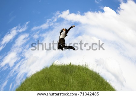 Green planet and Success global business man - stock photo