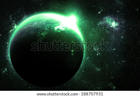 Green Planet at Sunrise - Elements of this Image Furnished By NASA - stock photo