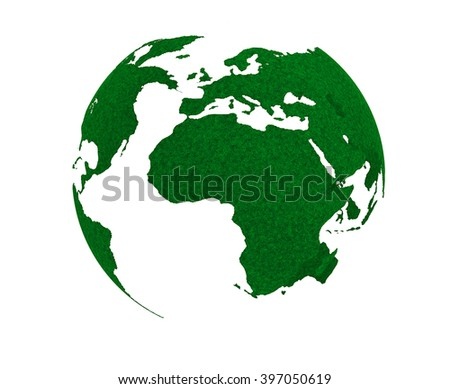 Green Planet Concept. Grass Earth Globe on a white background - stock photo