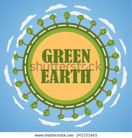 Green planet Earth concept. Template design. Illustration. - stock photo