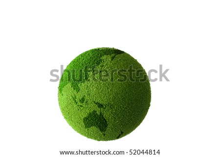 Green planet earth showing a green globe - stock photo