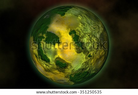 Green planet Earth with starry environment - stock photo