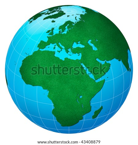 Green planet, Europe centric with forest texture - stock photo