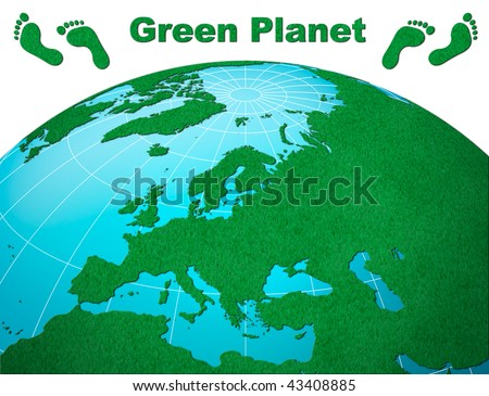 Green Planet, Europe with footprints and forest texture - stock photo