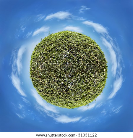 green planet, globe world on blue sky background, eco concept