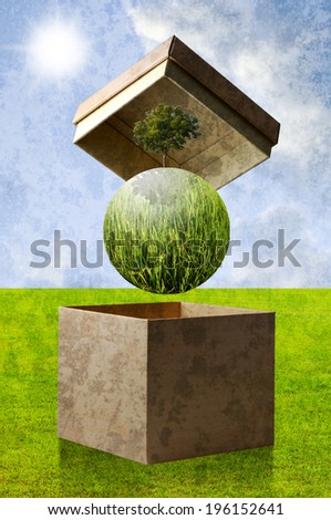 Green planet in the recycle paper box, Sustainable concept - stock photo