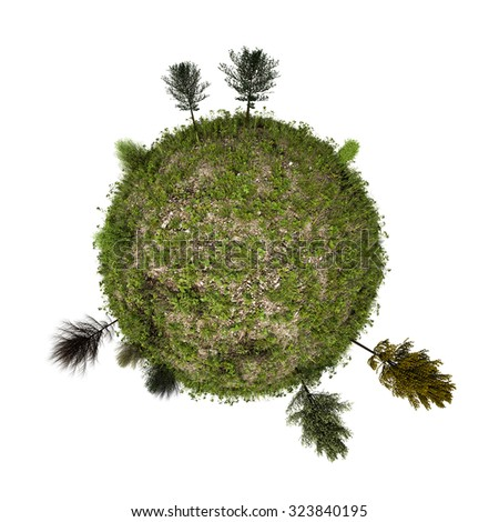 green planet isolated on white background - stock photo