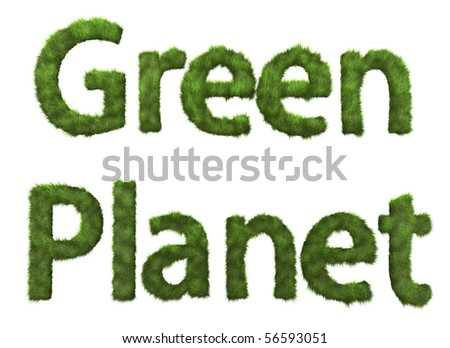 Green Planet sign from grass - stock photo