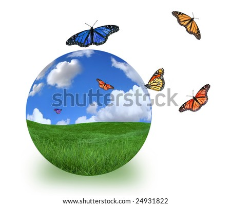 Green Planet Symbolized With Beautiful Landscape and Butterflies - stock photo