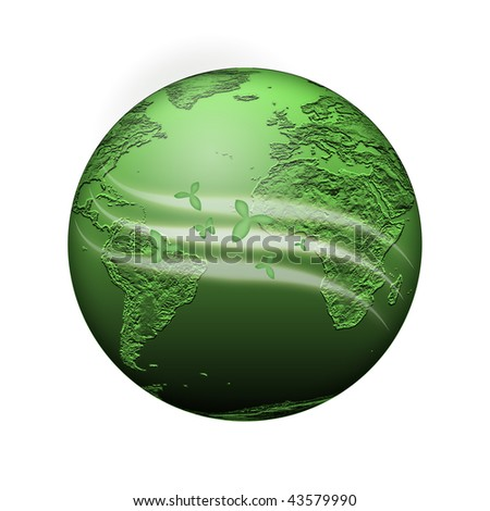 green planet with light waves on white background