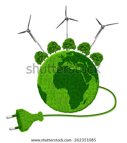 Green planet with trees and wind turbines isolated on white background - stock photo
